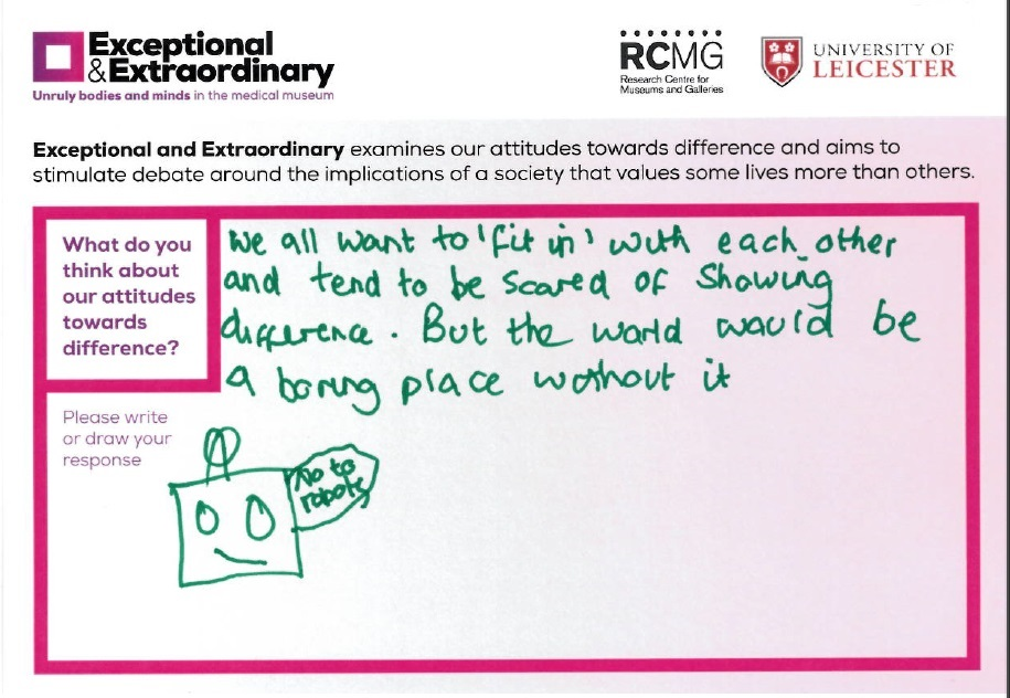 Exceptional and Extraordinary Response Card 'What do you think about our attitudes towards difference?'
